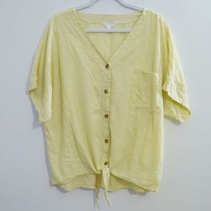 TIME & TRU YELLOW STRIPED TIE FRONT SHIRT